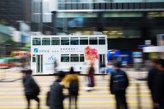 Hong Kong tramwaj w ruch plamie Fotografia Stock