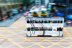 Hong Kong tramwaj w ruch plamie Fotografia Royalty Free