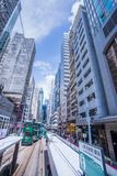 Hong Kong tramwaje, Hong Kong ` s tramwaje biegają w dwa kierunkach -- wschodu i zachodnich pasażery opierają z powrotem jako Hon zdjęcia royalty free