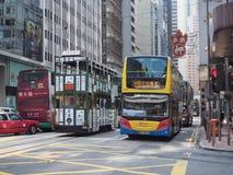 HONG KONG, tramwaje w Hong Kong - Lipa 23, 2014 Obraz Royalty Free