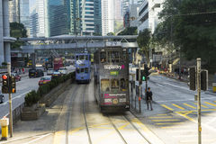 Hong Kong tramway. The only tram system in the world run exclusively with double deckers Royalty Free Stock Images