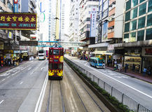 Hong Kong tramway. The only tram system in the world run exclusively with double deckers Royalty Free Stock Photo