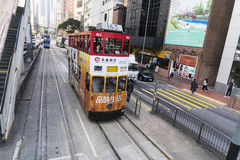 Hong Kong tramway. The only tram system in the world run exclusively with double deckers Royalty Free Stock Photos