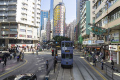 Hong Kong tramway. The only tram system in the world run exclusively with double deckers Stock Photos