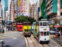 Hong Kong Tramways ' Ding Ding ' dubbeldäckarespårvagnar Royaltyfri Bild