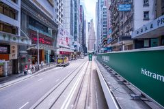 Hong Kong tramways, Hong Kong`s trams run in two directions -- east and west. Passengers lean back as a Hong Kong tram. Hong Kong,China - June 24,2018: Hong Kong royalty free stock photo