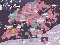 Hong Kong travel map Royalty Free Stock Photos