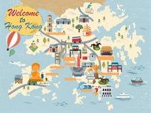 Hong Kong travel map Stock Image