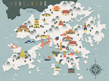 Hong Kong travel map Royalty Free Stock Photo
