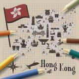 Hong Kong travel map. Creative Hong Kong travel map on notepaper Stock Photos