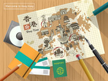 Hong Kong travel map. Creative Hong Kong travel map on notepaper - the upper left title is Hong Kong travel in Chinese word Stock Photography
