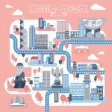 Hong Kong travel map design Stock Images