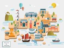 Hong Kong travel map Stock Photography