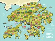 Hong Kong travel map Stock Photos