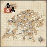 Hong Kong travel map Stock Photo