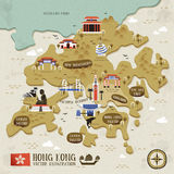 Hong Kong travel map Royalty Free Stock Image