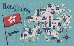 Hong Kong travel map. Retro Hong Kong travel map on notepaper Royalty Free Stock Photo