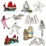 Hong Kong traveling - full sized hand drawn illustration no.3 on Royalty Free Stock Photos