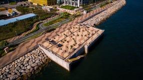 Hong Kong Tseung Kwan O Monterey. Drone shot with  Hong Kong Velodrome Park Royalty Free Stock Photo