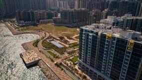 Hong Kong Tseung Kwan O Monterey. Drone shot with  Hong Kong Velodrome Park Royalty Free Stock Photography