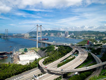 Hong Kong Tsing Ma Bridge stock photo