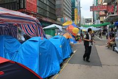 Hong Kong umbrella revolution in Mong Kok Royalty Free Stock Photo