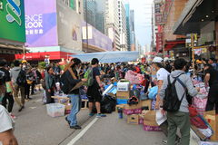 Hong kong umbrella revolution in Mong Kok 2014 Royalty Free Stock Image