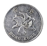 Hong Kong una moneta del dollaro isolata su bianco Fotografia Stock