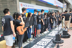 Hong Kong university students singing event for memorizing China Tiananmen Square protests of 1989 Stock Images
