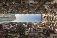 Hong Kong uppehålllägenhet från nedersta sikt royaltyfri foto