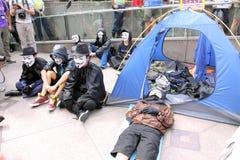 Hong Kong upptar protester som fördelas till Royaltyfri Fotografi