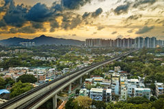 Hong kong urban downtown and sunset speed train, Long Ping Royalty Free Stock Images