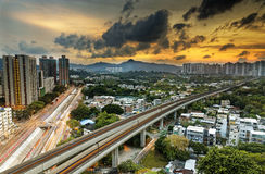 Hong kong urban downtown and sunset speed train, Long Ping Stock Images