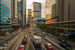 Hong Kong Urban Road Sunset Stock Photo