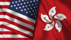 Hong Kong and Usa Flag - 3D illustration Two Flag royalty free illustration
