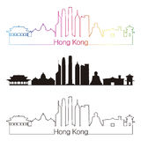 Hong Kong V2 skyline linear style with rainbow Stock Photography