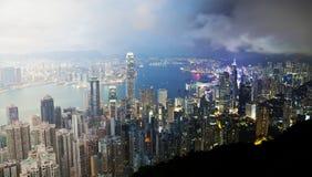 Hong Kong van dag aan nacht Royalty-vrije Stock Foto