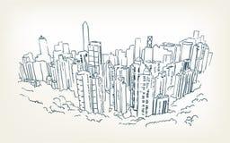 Hong kong vector illustration skyscraper sketch line royalty free illustration