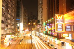 Hong Kong, via alla notte - carta da parati Fotografia Stock Libera da Diritti