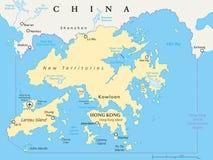 Hong Kong And Vicinity Political-Karte Stockbild
