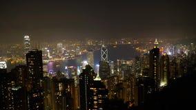 Hong Kong Victoria-baai van de Piek wordt gezien die stock footage