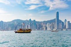 Hong Kong Victoria hamn och stad i bakgrund Arkivbilder