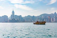Hong Kong Victoria hamn och stad i bakgrund Royaltyfria Bilder