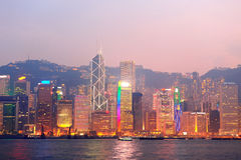 Hong Kong Victoria hamnmorgon Arkivbild