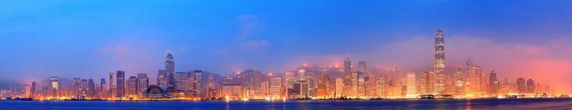 Hong Kong Victoria hamnpanorama Arkivfoto