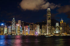 Hong Kong,victoria harbor. Hong Kong, China skyline panorama from across Victoria stock photo