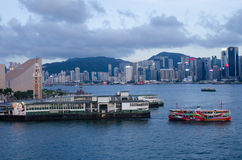 Hong Kong,victoria harbor. Hong Kong, China skyline panorama from across Victoria stock photos