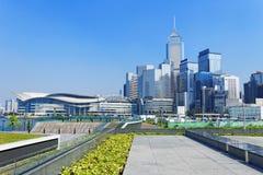 Hong Kong Victoria Harbor morgon Arkivfoto