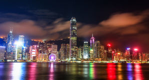 Hong Kong Victoria Harbor-Nachtansicht Stockbild