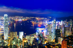 Hong Kong Victoria Harbor nattsikt arkivbild
